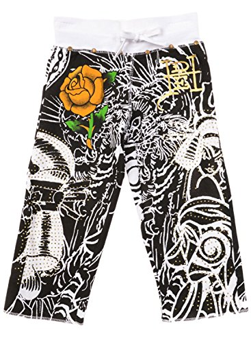 Ed Hardy Little Girls' Toddler Sweatpants - Black/White - 6/6X