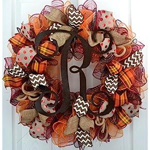 Brown Fall Burlap Thanksgiving Autumn Monogram Door Wreath; Maroon Red Orange Yellow : F2 98