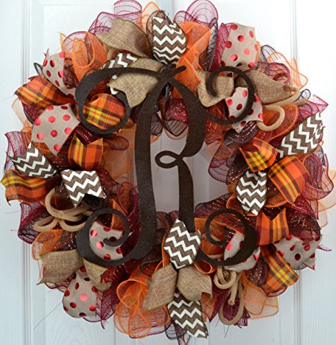 Brown Fall Burlap Thanksgiving Autumn Monogram Door Wreath; Maroon Red Orange Yellow : F2 -