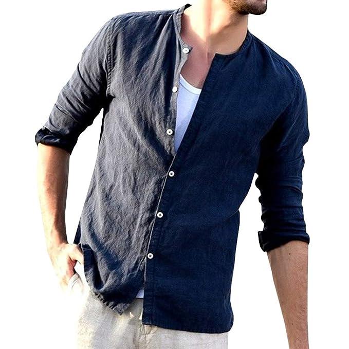 Hombre Camisa de Manga Larga/Manga Media Casual Blusas Color Puro Loose Fit Shirt con Botón Otoño y Primavera Tops Camisas M-2XL: Amazon.es: Ropa y ...