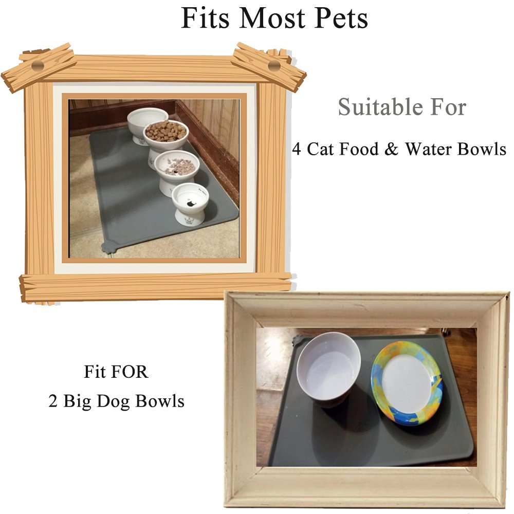 Santune Dog Food Mat FDA Grade Silicone Pet Cat Bowl Feeding Mat Waterproof Non-spill Placemat For Small to Large Pets 18.7\