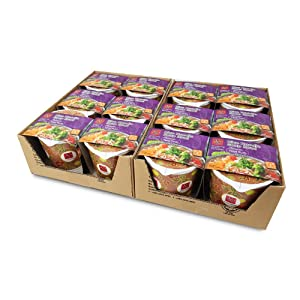 Asianmeals Rice Noodle Soup Bowl Tom Yum (Pack of 12), Thai Spicy Tom Yum Noodle, Instant Cup Meal, Instant ramen, Asian Food, lemongrass, Kaffir lime leaves, 3.8oz each