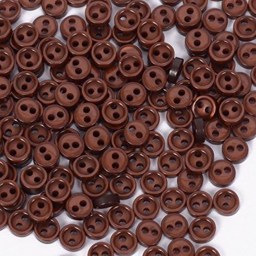 人形用 ドール服の材料 プラスチック ボタン 二つ穴 4mm ブラウン 50個入