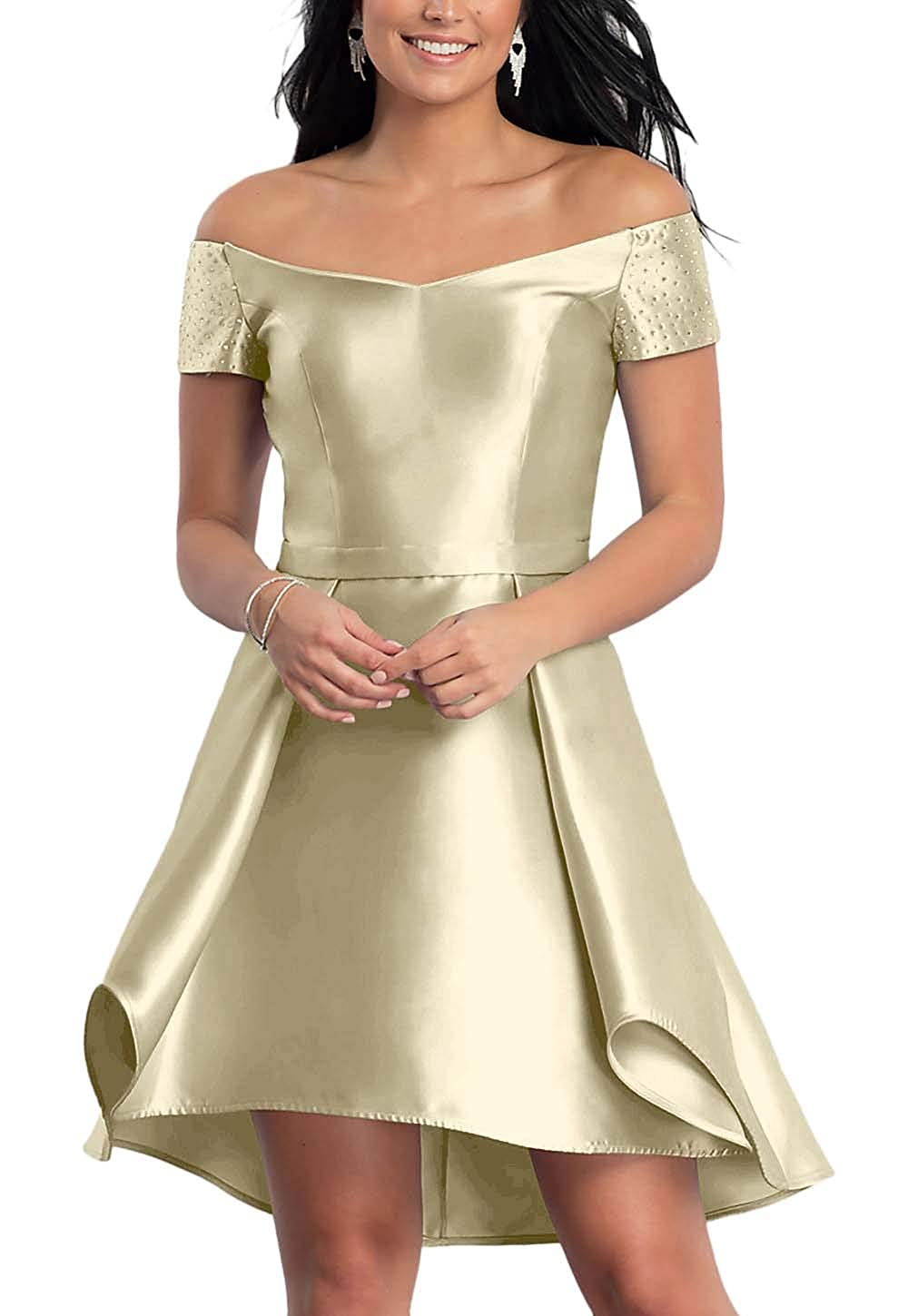 Champagne FeiYueXinXing Satin HighLow Short OffTheShoulder Homecoming Dress for Juniors with Pockets