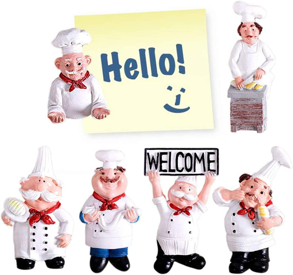 Amazon Com 6 Pack Chef Fridge Magnet Refrigerator Magnets Italian French Figurine Statue Home Kitchen Restaurant Decorations 3d Resin Baker Wall Decors Dining