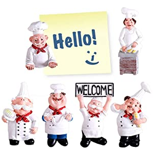 6 Pack Fridge Magnet Refrigerator Magnets, Decorative Chef Fridge Magnets Cute Home Kitchen Decorations, 3D Resin Baker Magnets Office Magnets Kitchen Wall Magnets Decors