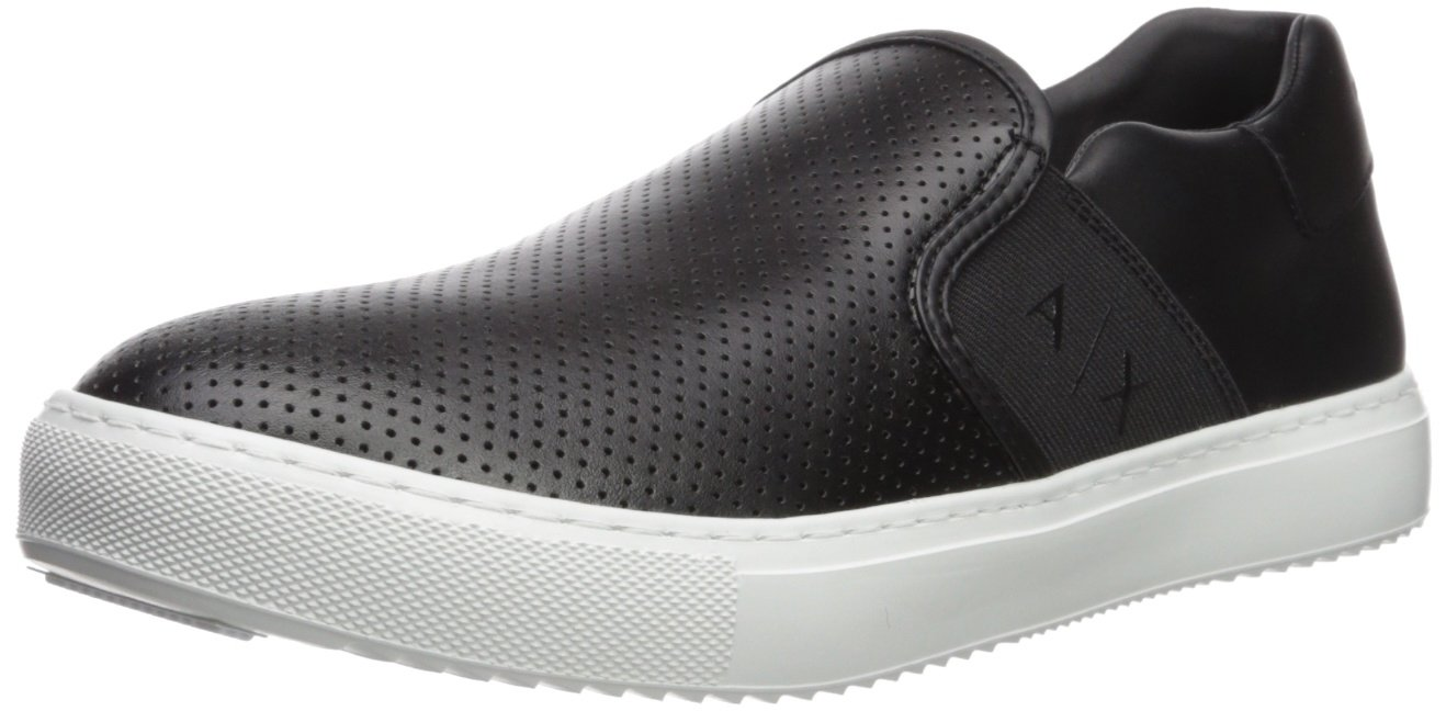 A|X Armani Exchange Men's Perforated Slip On Sneaker, Black, 11 Medium US