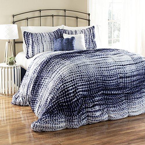 Creek Comforter Set - Lush Decor 5 Piece Pebble Creek Tie Dye Comforter Set, Full/Queen, Navy/White