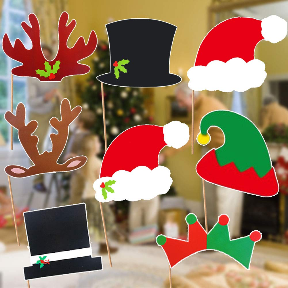 Christmas Party Photo Booth Props, 52PCS DIY Kits Dress-up Decoration for Christmas Theme Party Favors Decorations
