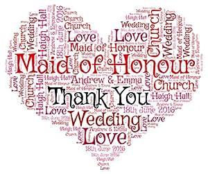Personalizable rojo Bridesmaid gracias corazón palabra Cloud Print