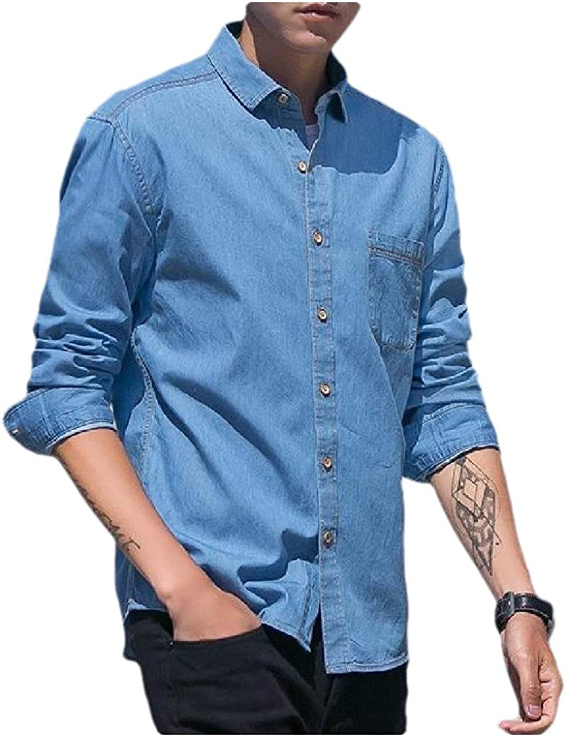 Tralounry Mens Square Collor Solid Colored Silm Fit Long-Sleeve Autumn Denim Shirt