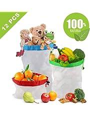 Idefair Sacchetti riutilizzabili, Sacchi in Rete Lavabili da 12 pezzi Eco friendly Sacchetti di frutta verdura prodotti con coulisse per la spesa a domicilio Negozio di alimentari