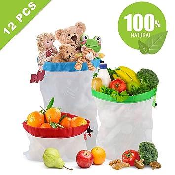 Bolsos reutilizables del producto, bolsos lavables del producto de la legumbre de fruta del juguete del bolso del acoplamiento 12PCS con los cordones