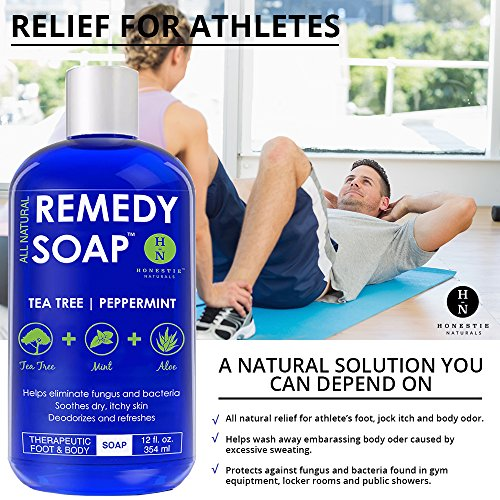 Remedy Soap, Wash Body Odor, Athlete's Foot, Nail Fungus, Ringworm, Infections Skin 100% Natural Aloe 12 oz