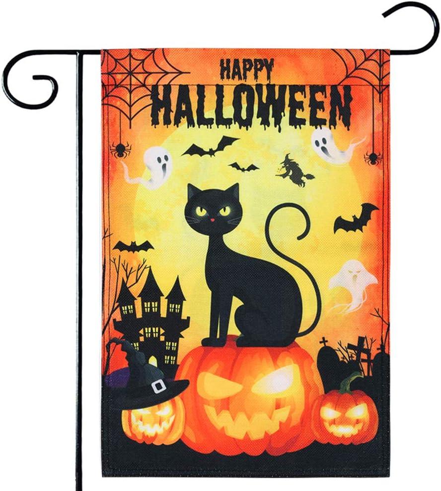 AUUXVA Halloween Garden Flag 12x18 Double Sided, Pumpkins Black Cat Decorative Flag, Spooky Ghost Bats Castle Yard Outdoor Flag, Seasonal Yard Decor