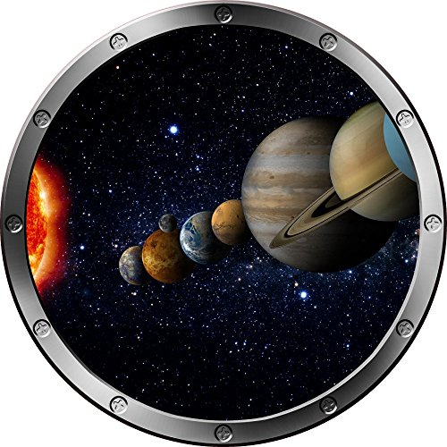 12'' Porthole Instant Space Ship Window View SOLAR SYSTEM #3 SILVER Wall Sticker Kids Decal Room Home Art Décor Graphic SMALL by Decal up the Wall Graphics