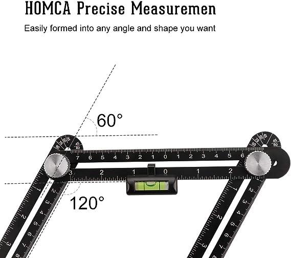 Righello angolare in acciaio inossidabile da 300 mm 0-180 /° Strumento per la misurazione del goniometro con indicatore quadrato 0,01
