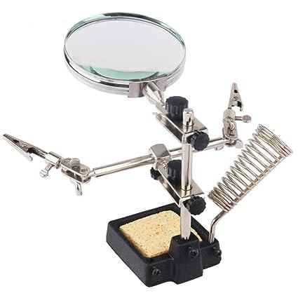 Apollo - Lupa con LED, 2 pinzas giratorias y base de soldadura de hierro fundido