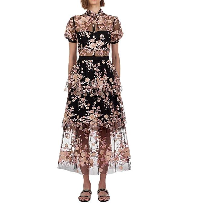 Fighting U Self Portrait Dress Mesh Embroidery Sequins Flower Dress Chic Summer Maxi Dress