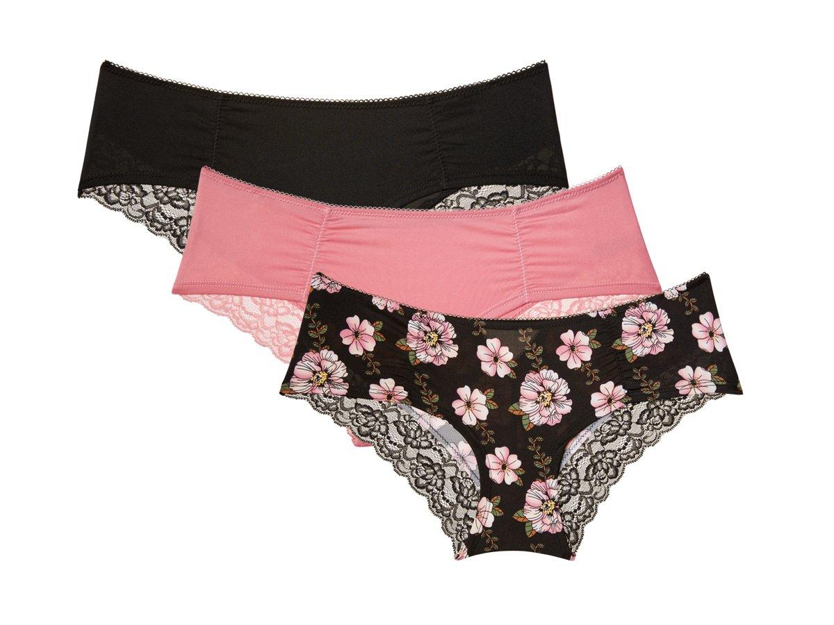 Nanette Nanette Lepore Womens 3 Boyleg Pack Microfiber and Lace Panties Onyx, Pink Shadow, Onyx Medium
