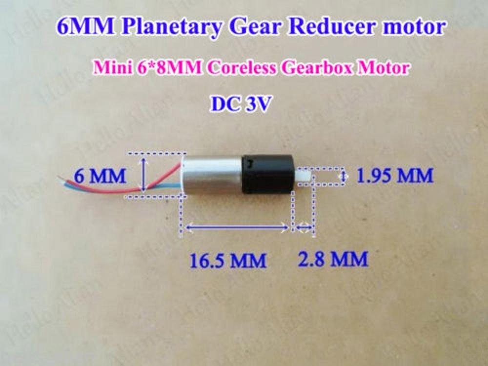 Micro Mini 6mm Gearbox Gear Reducer Motor DC 3V 1200RPM Coreless Planetary Motor