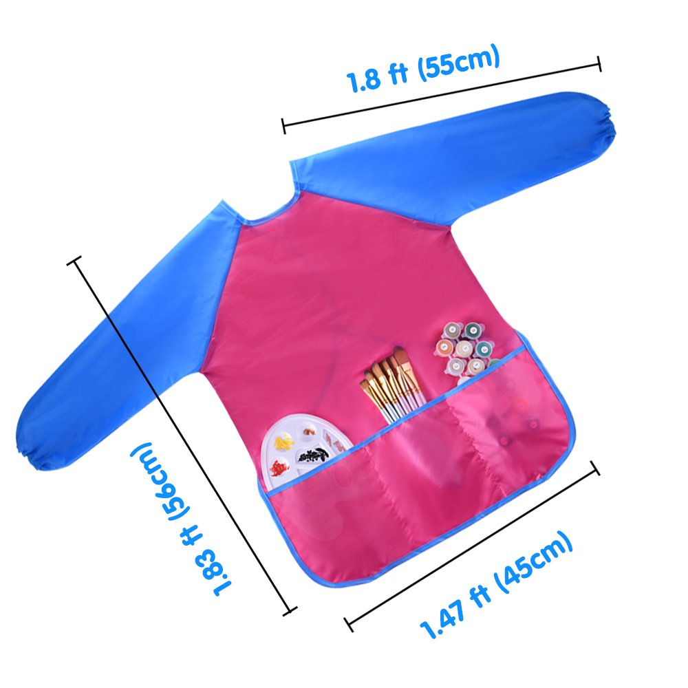6 Pieces Childrens Art Aprons Kids Art Smocks Children Painting Aprons Waterproof Kids Aprons No-Pocket for Painting Classroom