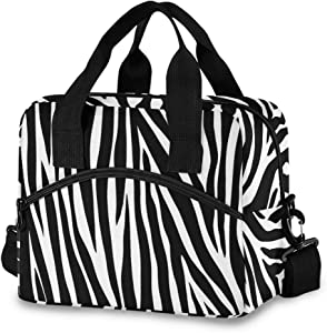 Toprint Animal Zebra Print Lunch Bags Box Insulated Lunchbox Cooler Bag Lunch Container Organizer Reusable Tote Shoulder Drinks Holder for Women Adults Work Picnic Hiking Beach College