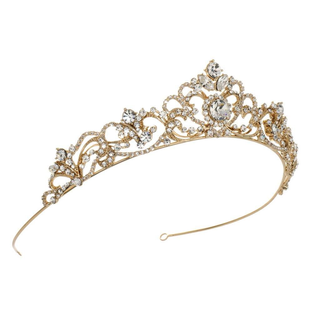 USABride Scrolling Rhinestone Bridal Crown, Gold-Tone Wedding Tiara, 3157-G