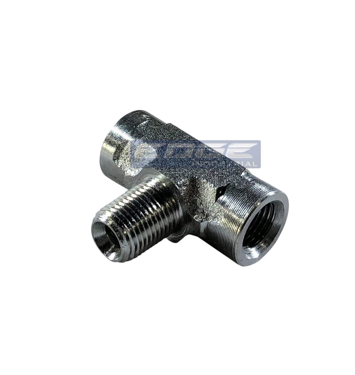 AIR//Water EDGE INDUSTRIAL Steel Female TEE 1//8 FNPT HYDRUALIC//Fuel Oil//Gas WOG