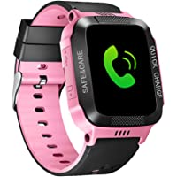 ele ELEOPTION Kids Smart Watches GPS Tracker Phone Call for Boys Girls Digital Wrist Watch, Sport Smart Watch, Touch Screen Cellphone Camera Anti-Lost SOS Learning Toy for Kids Gift (Pink&Black)