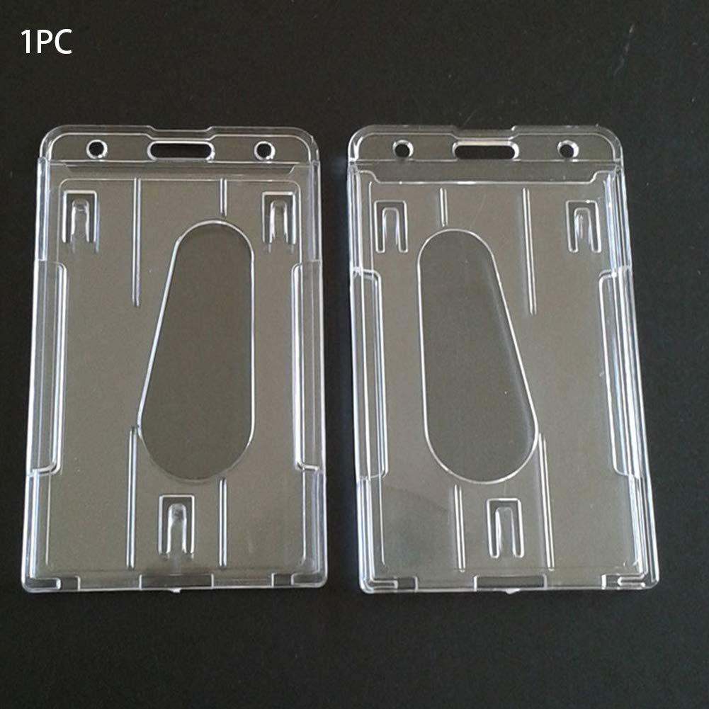 60x101mm pratica custodia per carta didentit/à multiuso resistente in plastica rigida doppio lato portatile Porta tessere da lavoro