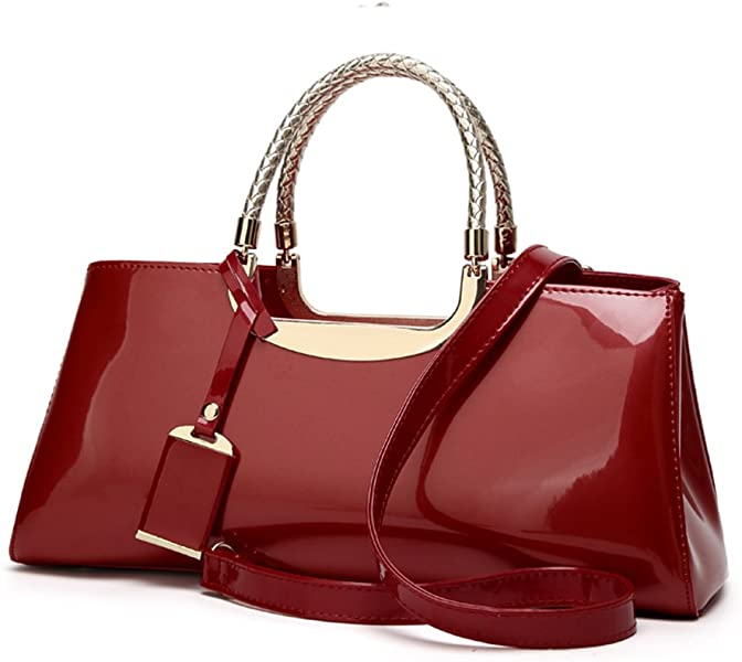 Glossy Faux Patent Leather Structured Shoulder Handbag Women Evening Party  Satchel b238a93c6d800