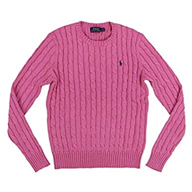 e975d8e9fef42f Ralph Lauren Polo Womens Cable Knit Crew Neck Sweater (Small, Pink/Newport  Navy Pony): Amazon.co.uk: Clothing