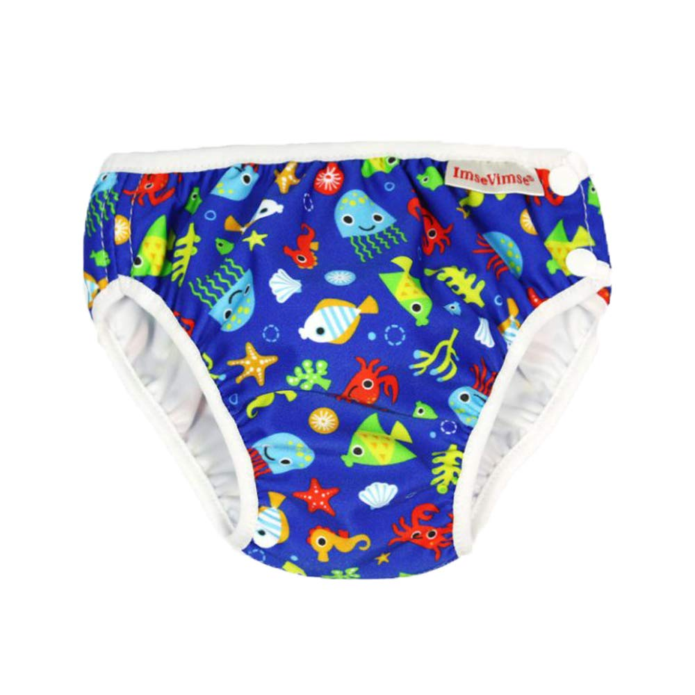 Blue Sea Life, M 15-22 lbs Imse Vimse Reusable Swim Diaper for Baby Boys