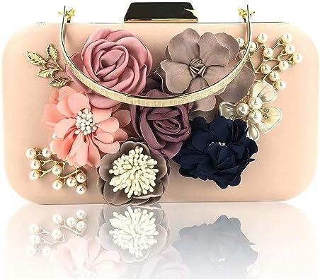 Womens Pearl Beaded Evening Clutch Handbags Crystal Rhinestone Leaf Flower Evening Bag for Wedding Parties Prom