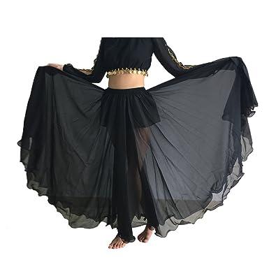 0a937a072437 Wuchieal Women's Belly Dance Skirt Tribal Chiffon Full Skirt (Black ...