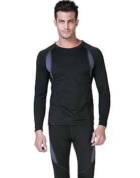 Conjunto de Ropa Interior Termica Hombre Camiseta Térmica + Pantalones Termicos Ropa Invierno Térmica de Esquí
