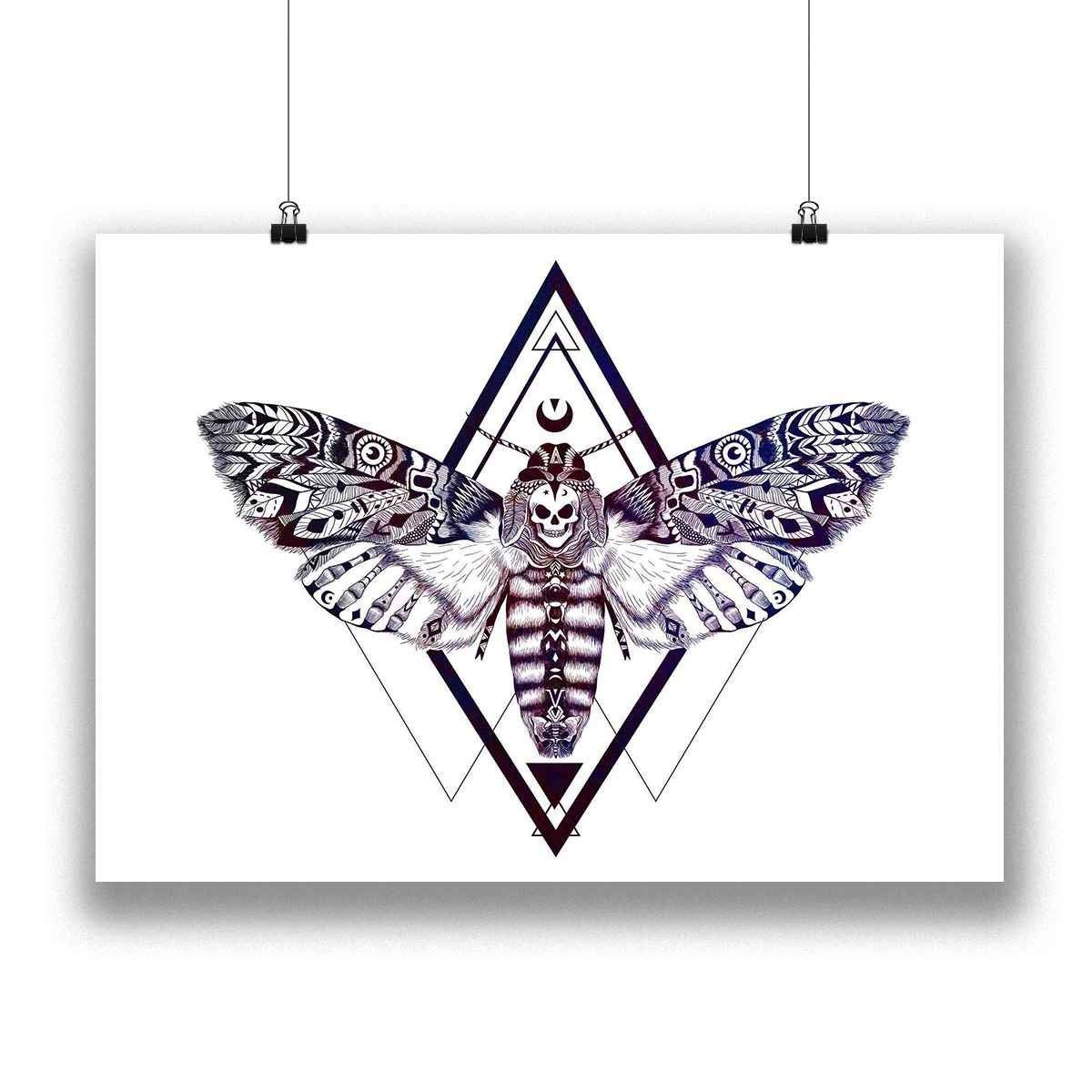 Aztec Geometric Deaths Head Hawk Moth Skull Wall Art Print Native American Totem Style Home Decor with a Galaxy Overlay on 100/% Cotton Fine Art Paper