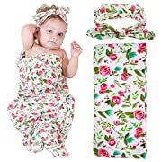 Newborn Baby Swaddle Blanket and Headband Value Set,Receiving Blankets, Rose