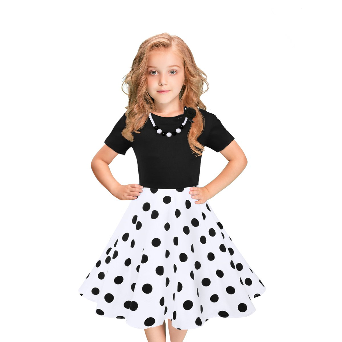 LEEGEEL Girls Short Sleeves Round Neck Swing Rockabilly Dress With Necklace (5-6 Years, White/Black Polka Dot)