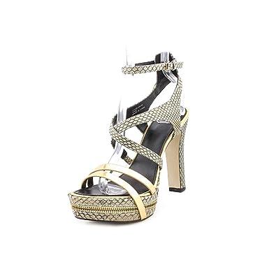 DMSX Donald J Pliner Tyler Platform Sandals GrayGold Size 75