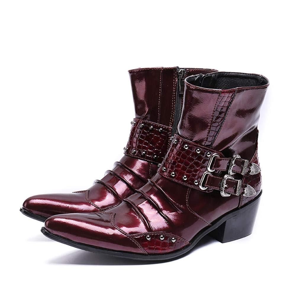 Botines zapatos Men's Home Art Mr.Zhang's de rojo Acentuados