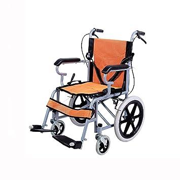 QIDI Silla De Ruedas Plegable Ligero Embarque Disponible Apoyabrazos Llanta Sólida Transporte Portátil Aleación De Aluminio Niño Mayor (Color : Orange): ...