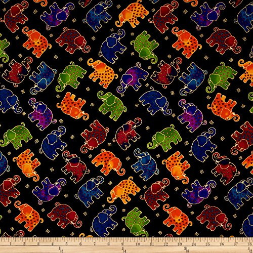 Clothworks Laurel Burch Mythical Jungle Metallic Tossed Elephants Black Metallic Fabric By The Yard - Jungle Print Fabric
