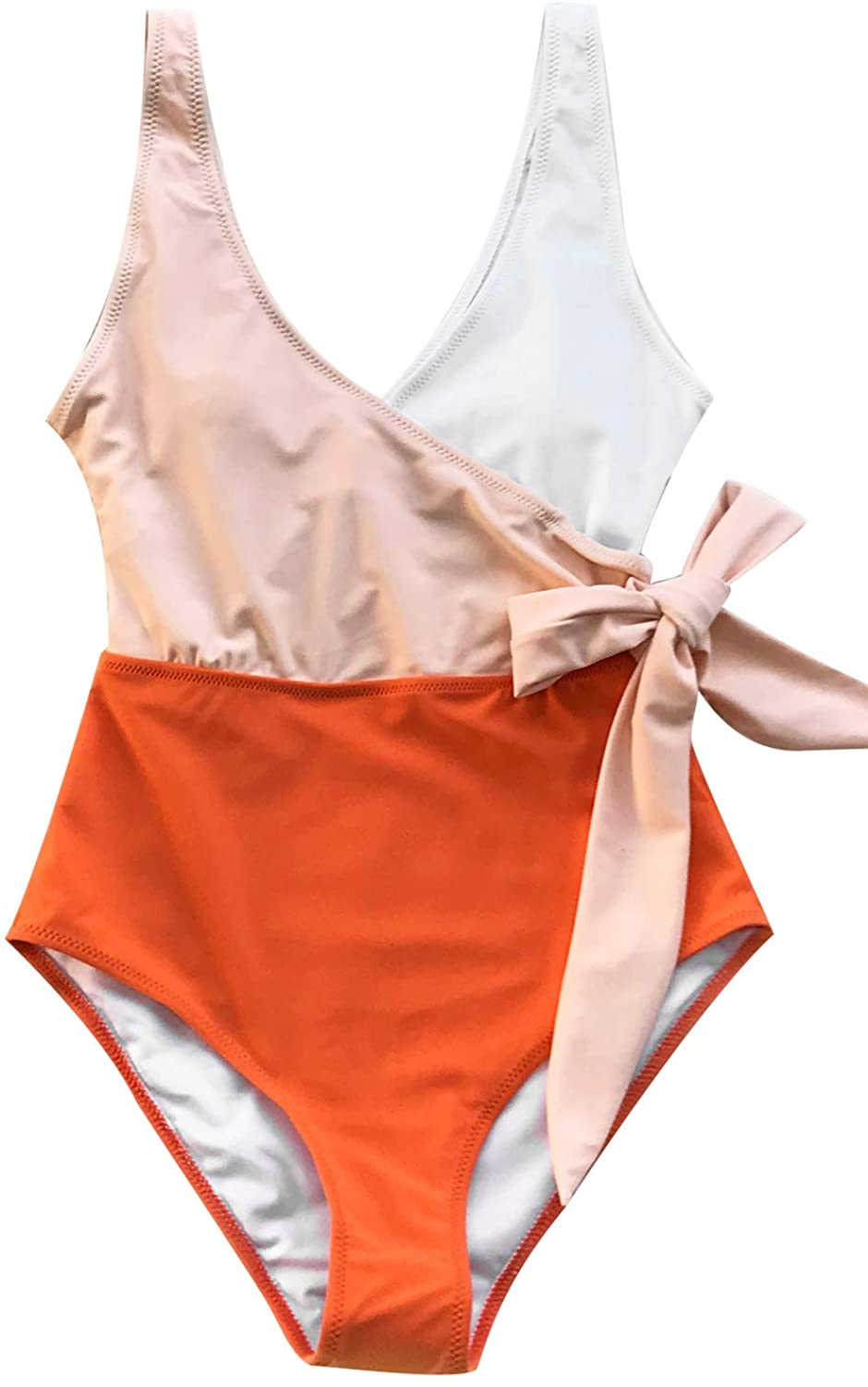 CUPSHE Womens Orange White Bowknot Bathing Suit Padded One Piece Swimsuit