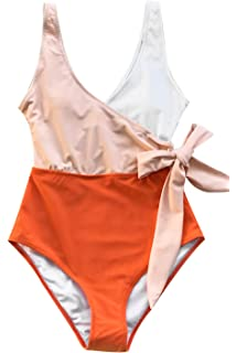 b31286916c CUPSHE Women's Orange White Bowknot Bathing Suit Padded One Piece Swimsuit
