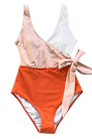 5a9bcdafc8 CUPSHE Women's Orange White Bowknot Bathing Suit Padded One Piece Swimsuit,  ...