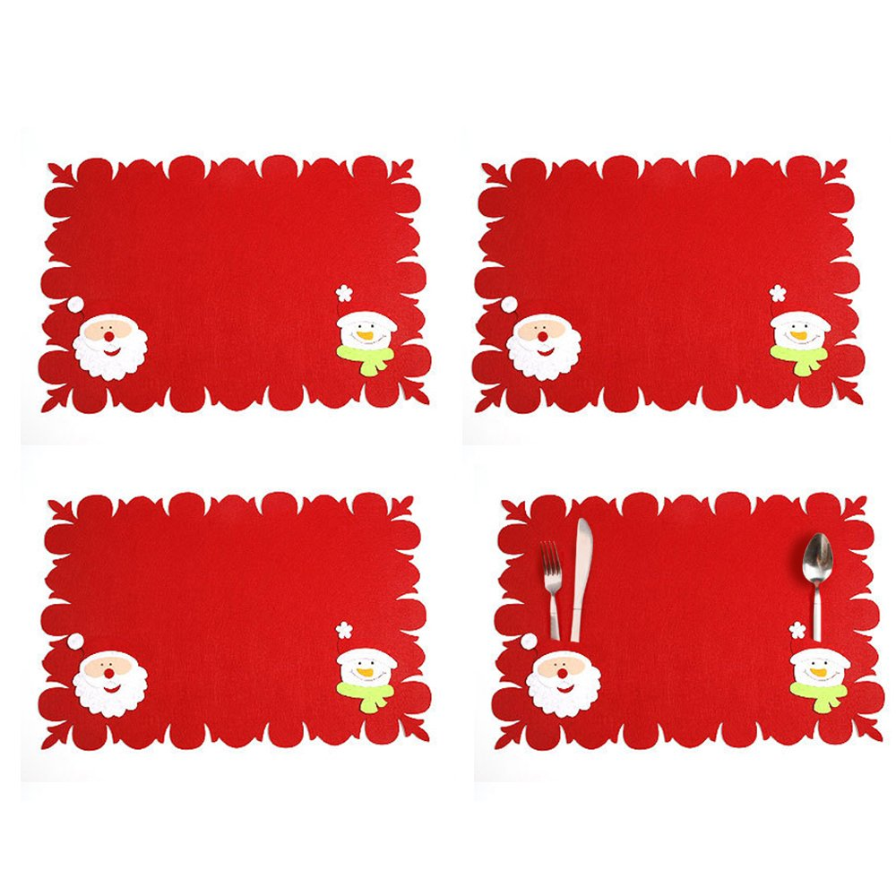 LOHOME Christmas Tableware Mat - Set of 4 Snowman + Christmas Tree Holiday Table Placemats Dinner Mat Tableware Decoration