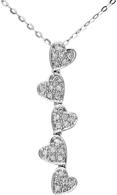 Naava - Collier Femme avec pendentif - Coeur - Or Blanc 375/1000 (9 Cts) 1.2 Gr - Diamant