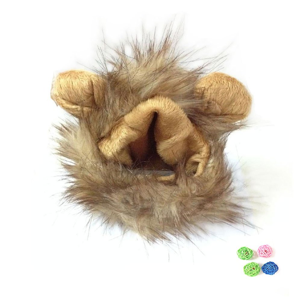 EMOURSCC pet lion cosplay cap lion mane (with ear) fashionable pet costume hat (with four rattan ball)
